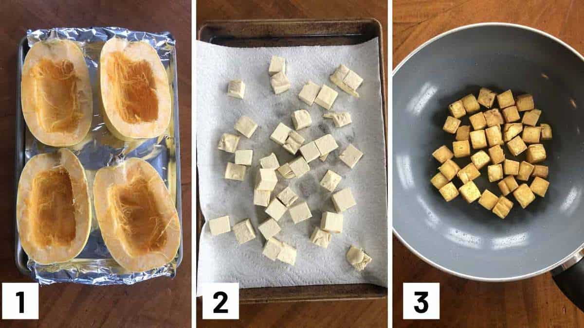 Step by step photos showing how to roast a spaghetti squash, cut tofu, and stir fry tofu.