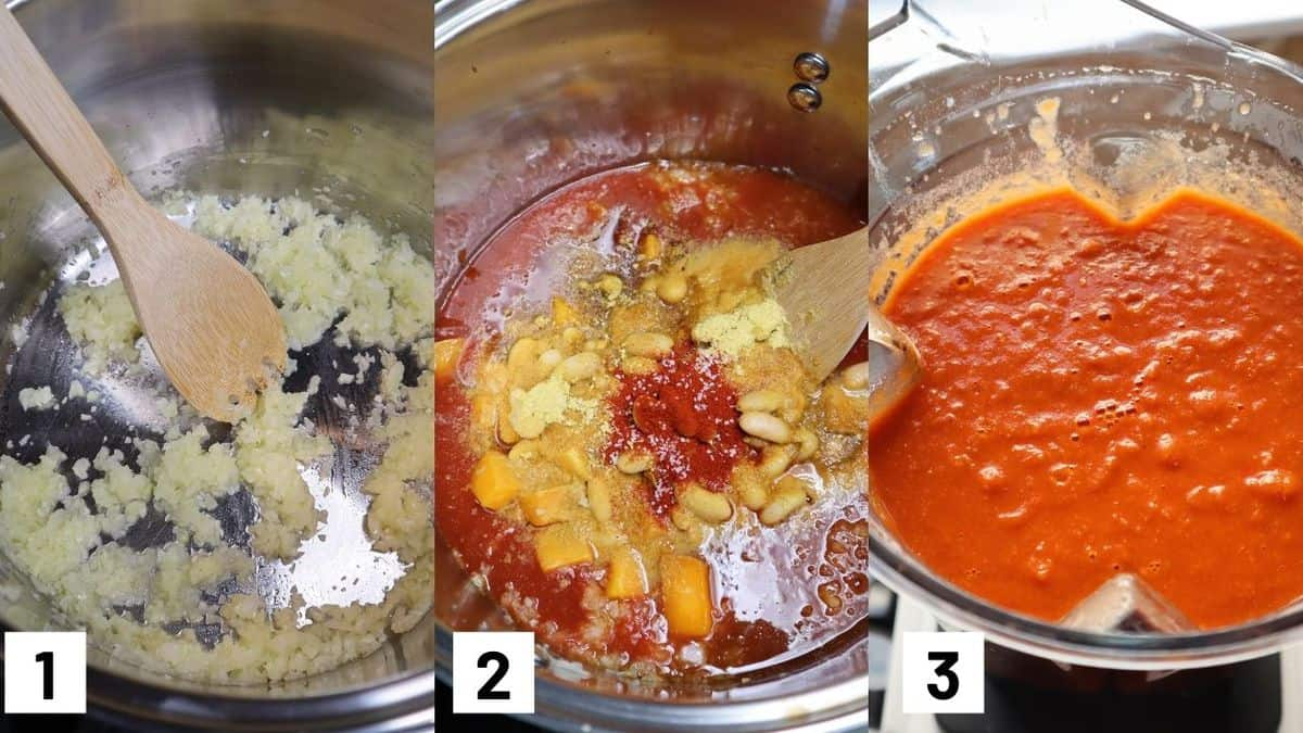 Three side by side images showing how to make tomato soup including sauteeing the onions and garlic, heating up the remainder of the ingredients, and pureeing in a blender.