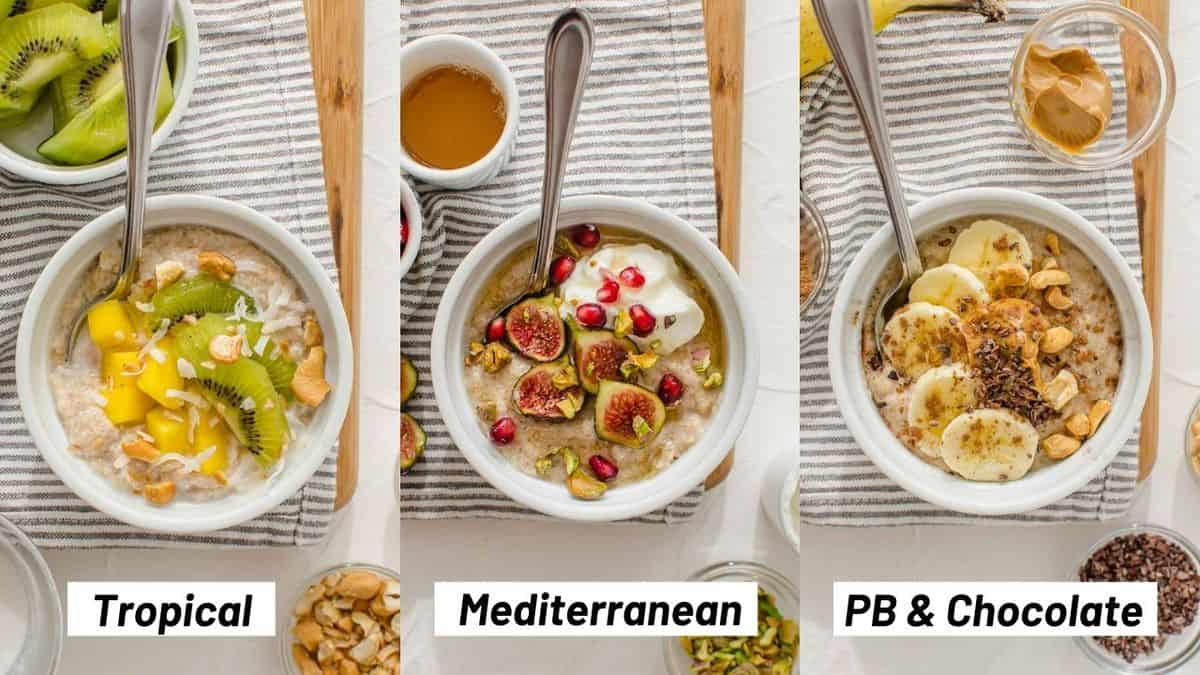Three side my side images showing the protein oatmeal flavour combinations including tropical, Mediterranean, and peanut butter & chocolate.