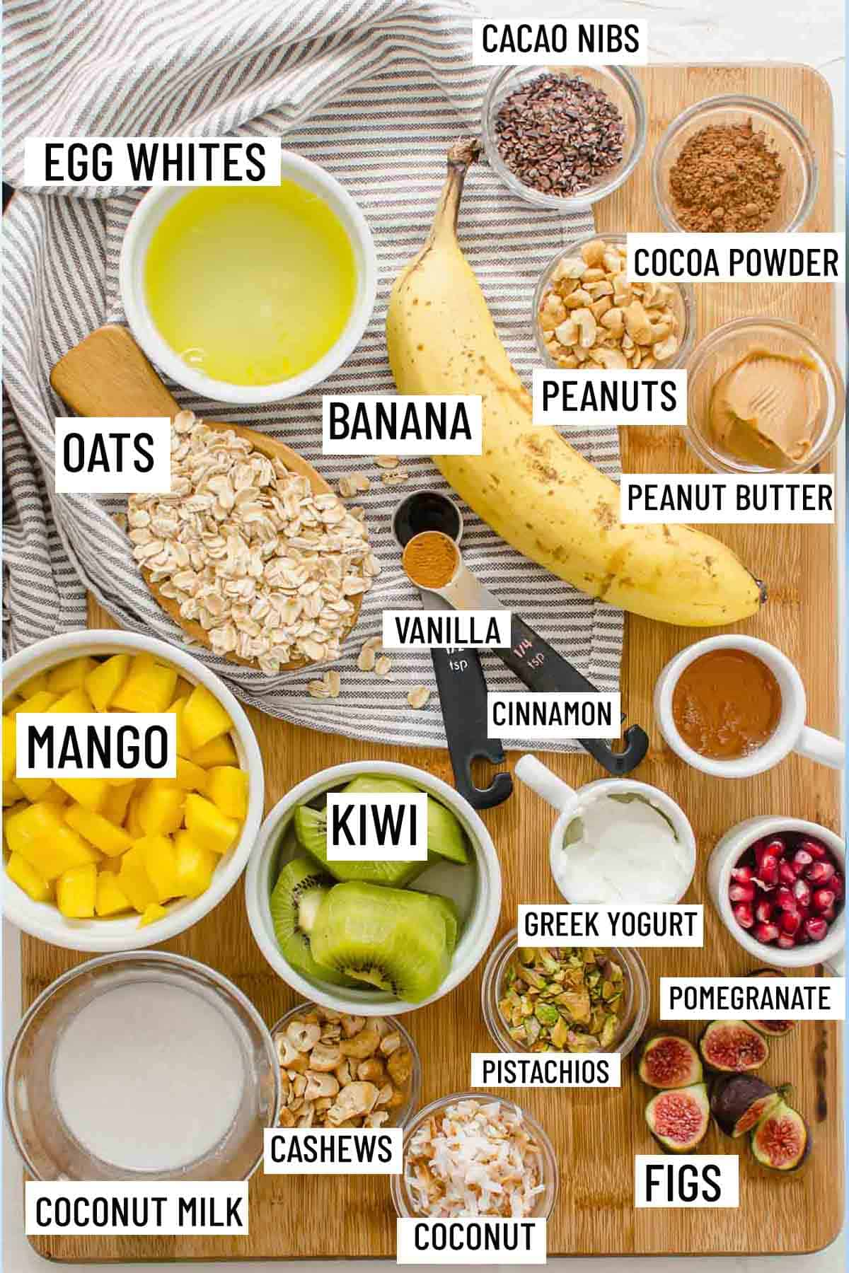 Birds eye view of portioned ingredients for protein oatmeal.