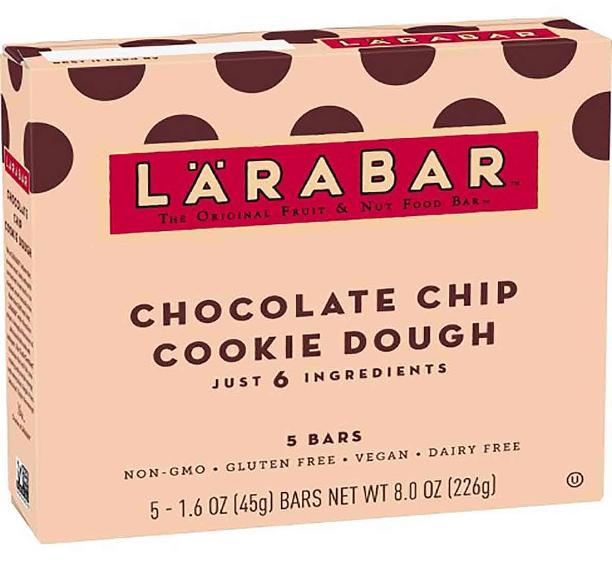 A box of lara bars as an example of a healthy packaged snack.