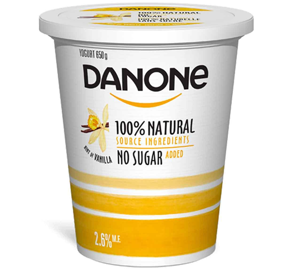 A container of danone yogurt with no added sugar.