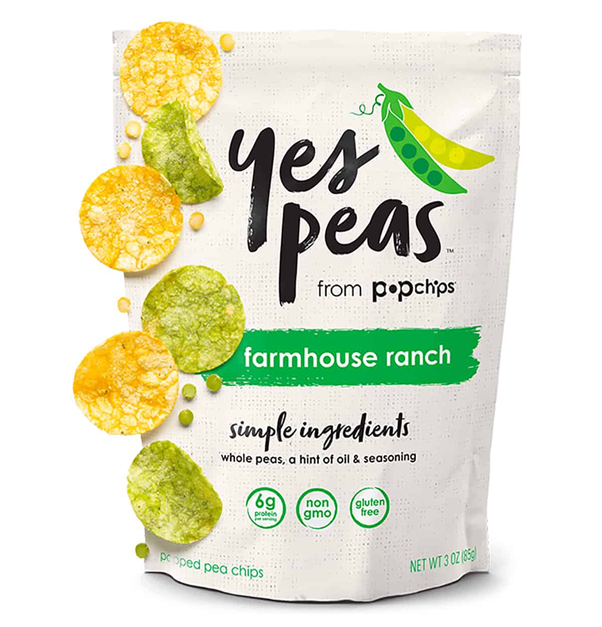 """A package of """"Yes Peas Pop Chips"""" as a healthy packaged snack."""
