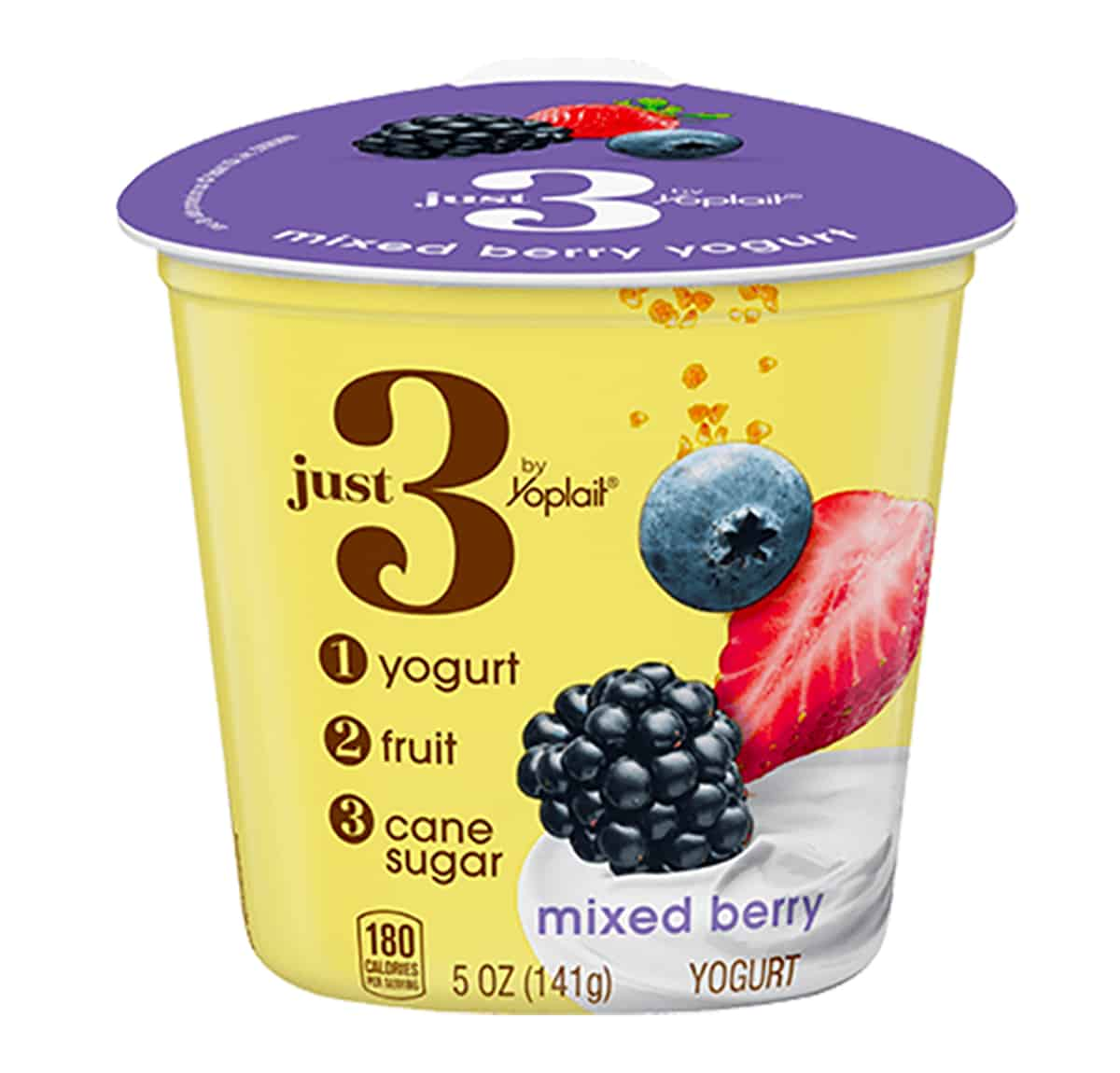 A package of Just 3 Yogurt by the brand yoplait.