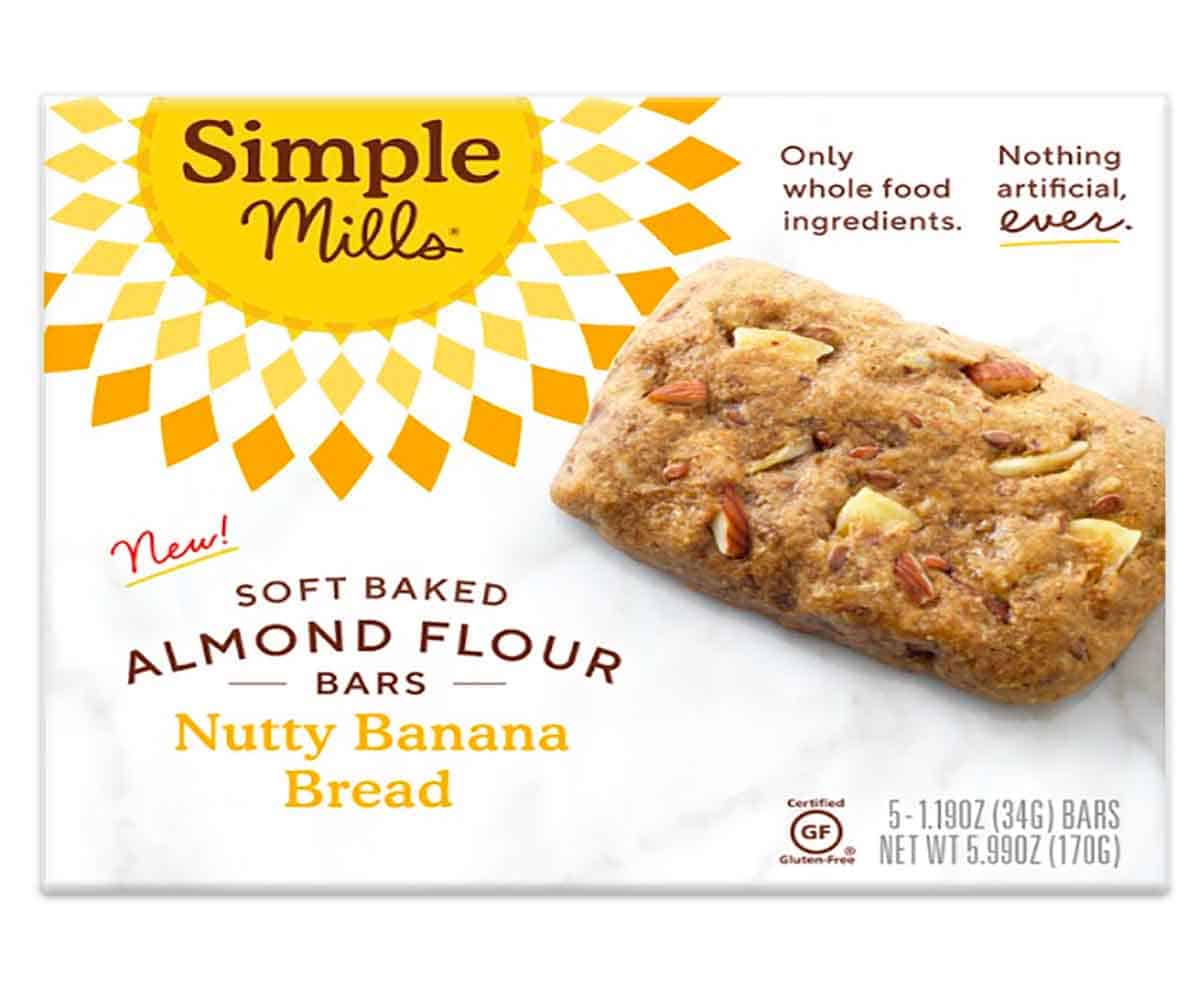 "A box of nutty banana bread bars from the brand ""Simple Mills""."