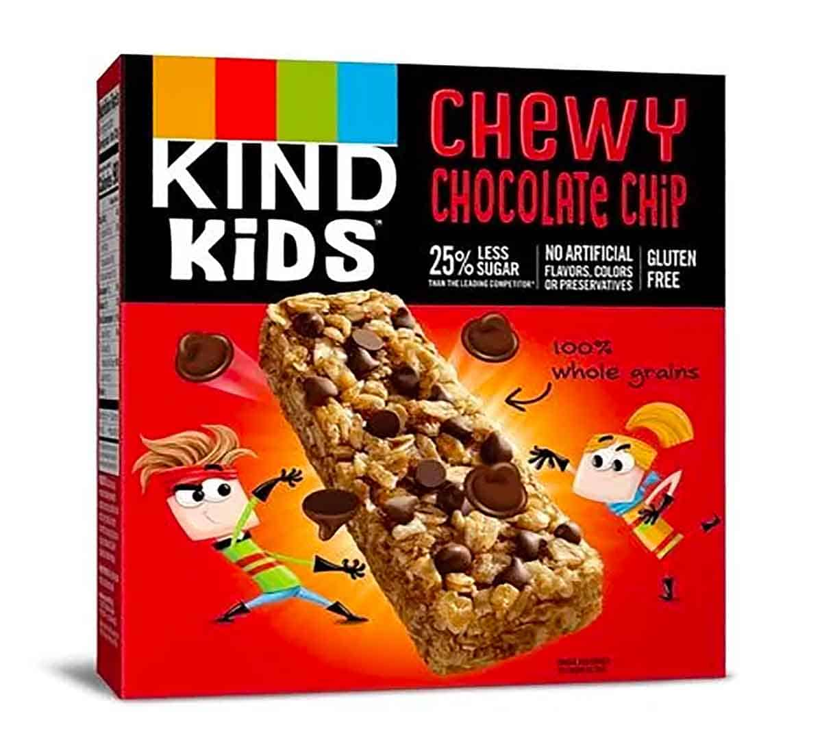 "A red box of chewy chocolate chip granola bars by the brand ""Kind Kids""."