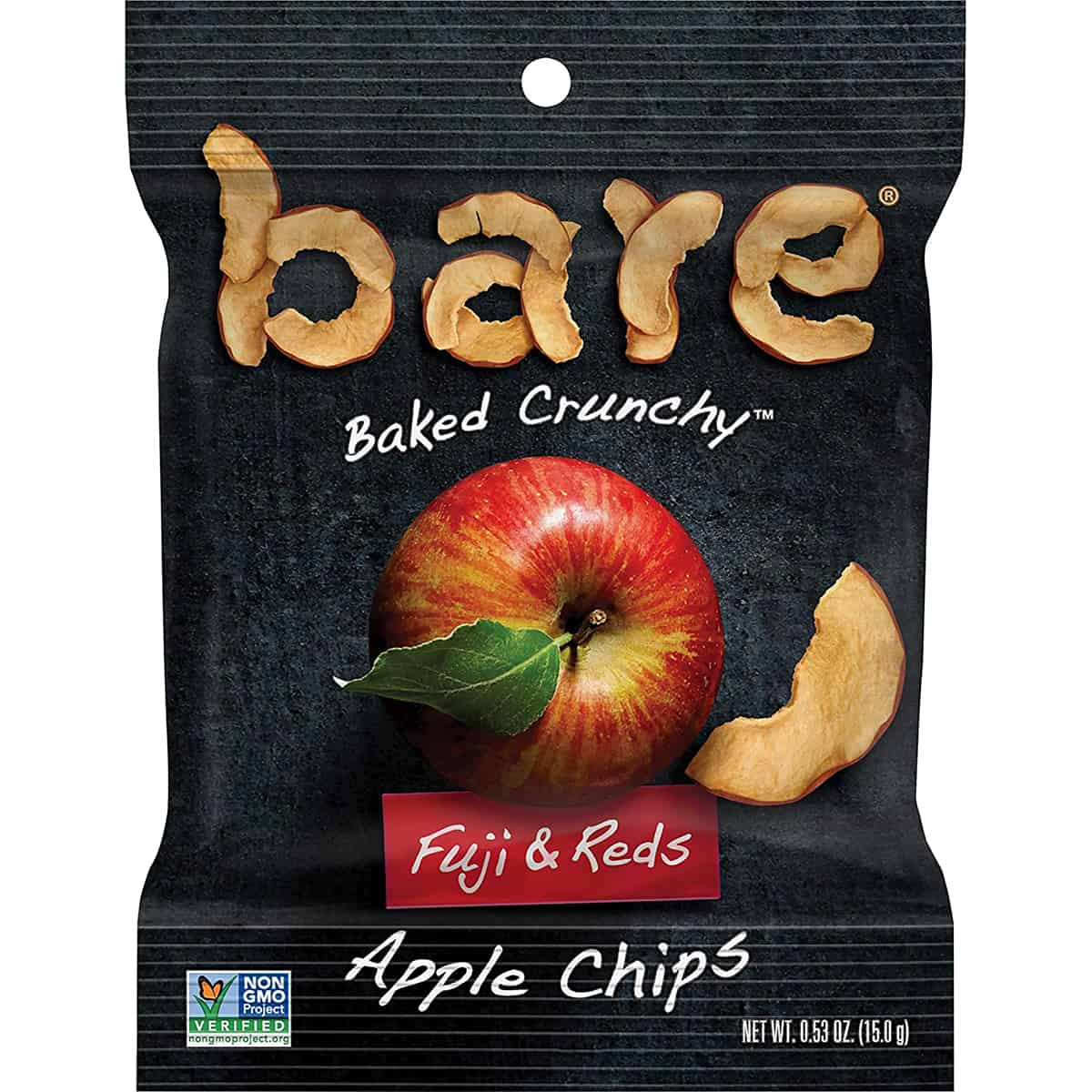 A package of apple chips as an example of a healthy packaged snack.