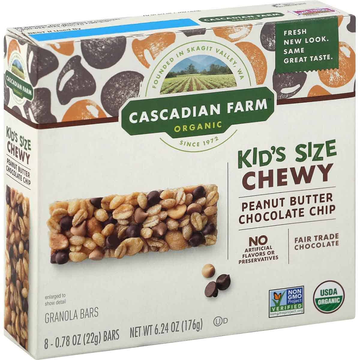 """A box of peanut butter chocolate chip bars by the brand """"Cascadian Farm""""."""