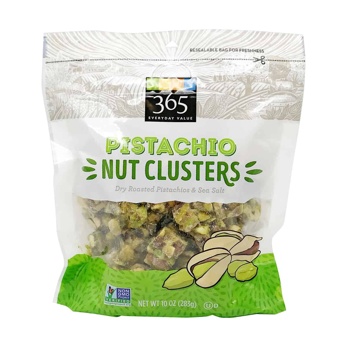 A package of pistachio nut clusters as an example of a healthy packaged snacks.