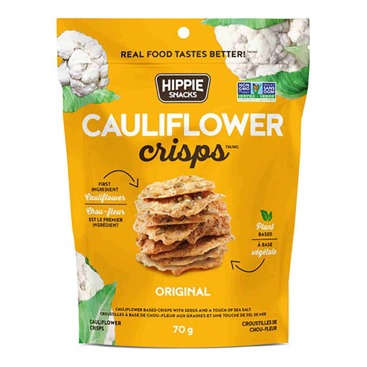 "A package of cauliflower crisps from the brand ""Hippie Snacks"" as an example of a healthy packaged snack."