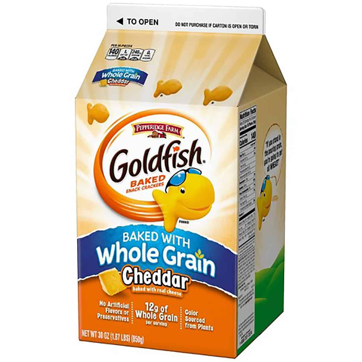 A package of whole grain goldfish crackers as an example of a healthy packaged snack.