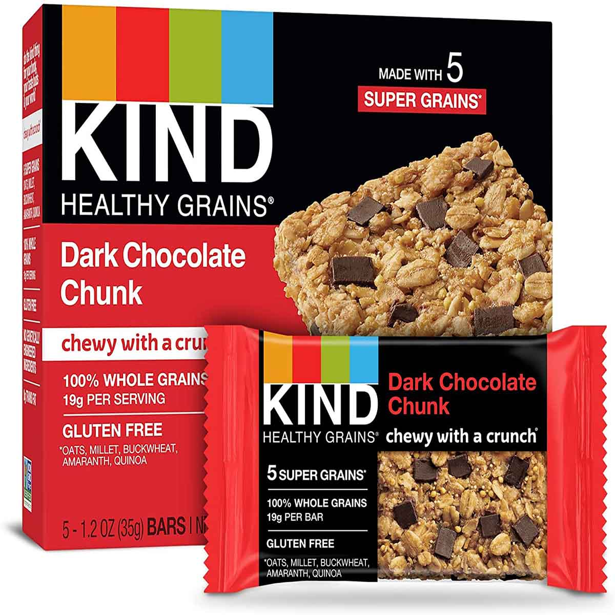 "A red box of dark chocolate chunk granola bars from the brand ""Kind Healthy Grains""."