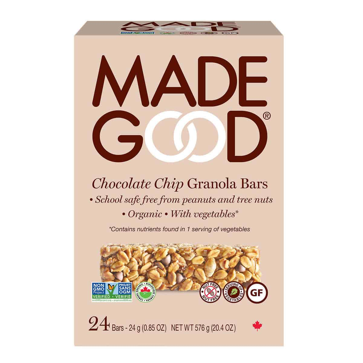 """A box of chocolate chip granola bars from the brand """"Made Good""""."""