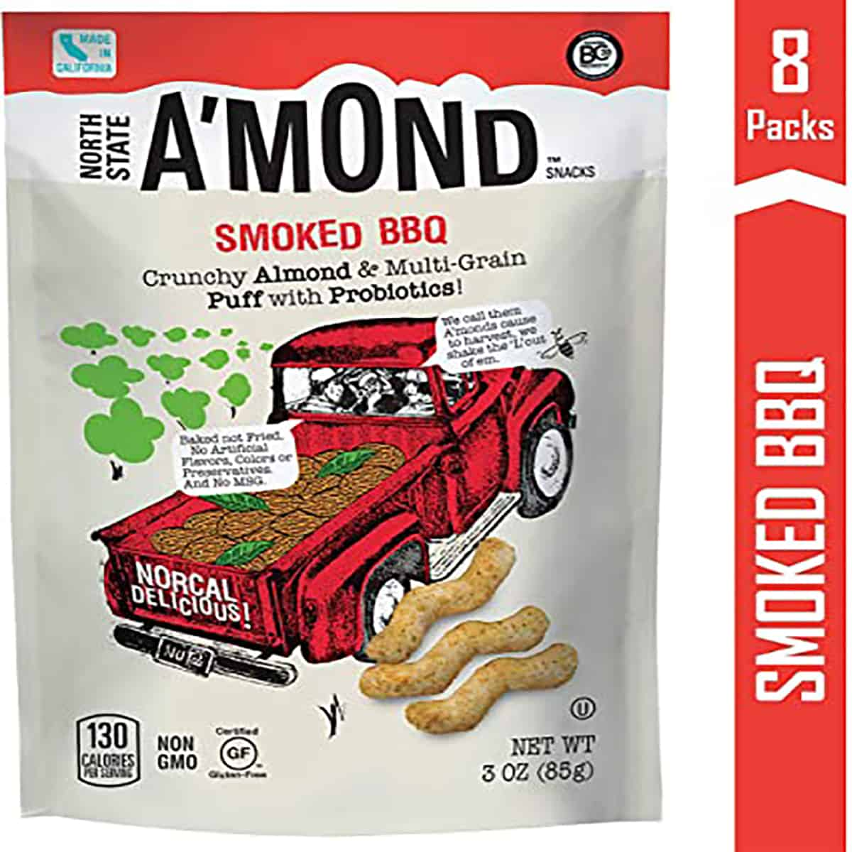 """A package of almond puffs by the brand """"A'mond""""."""
