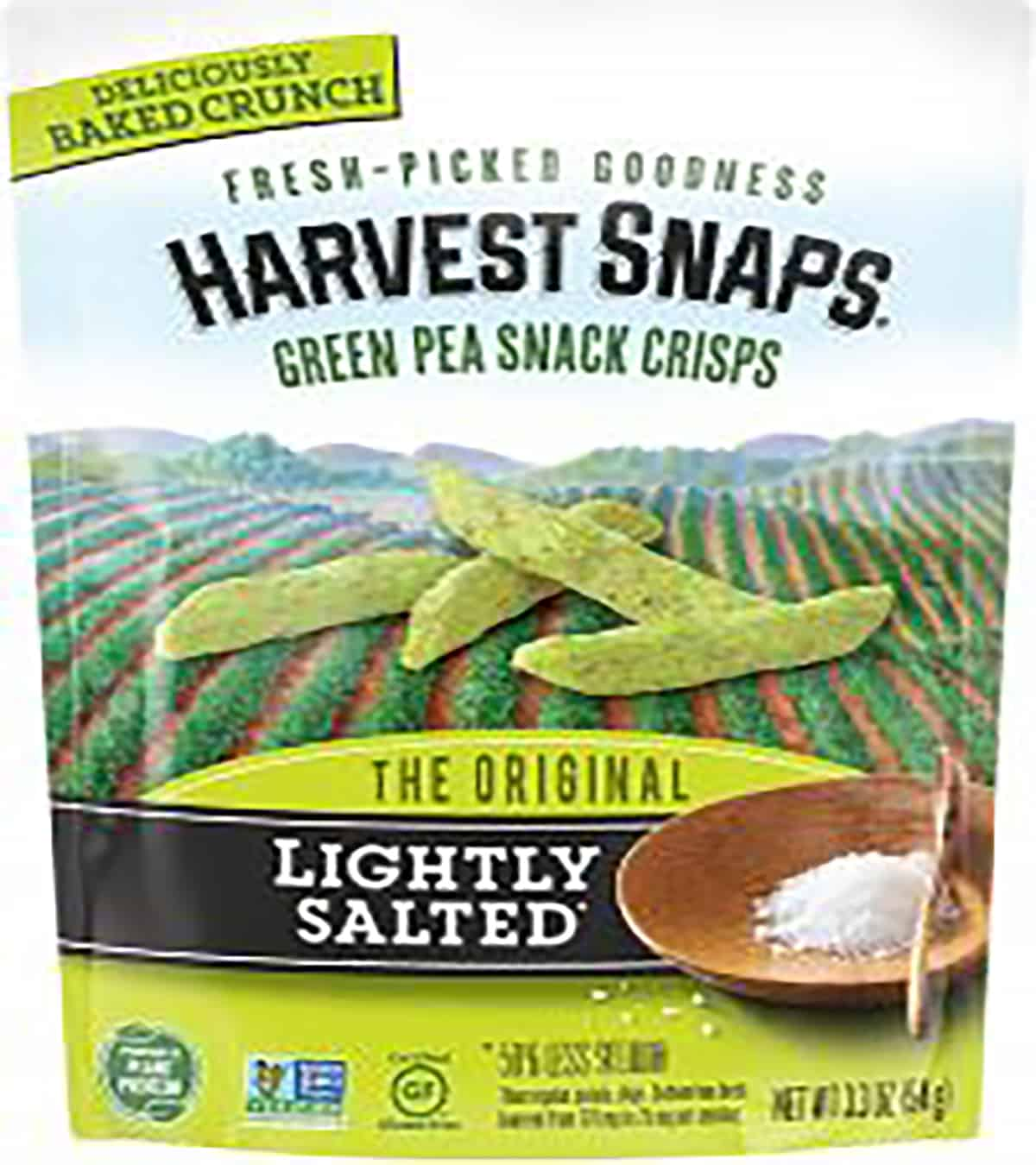 A package of harvest snack green pea crisps.