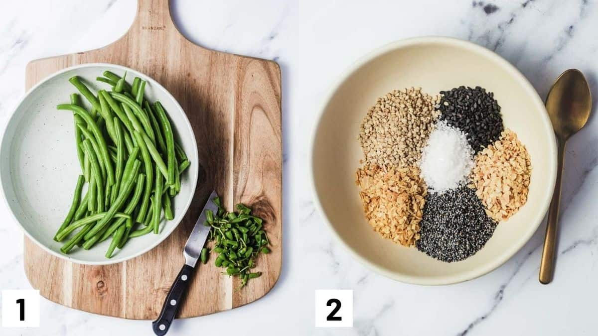 Two side by side images showing how to prep the green beans by cutting the stems, and how to prepare the everything bagel seasoning from scratch.