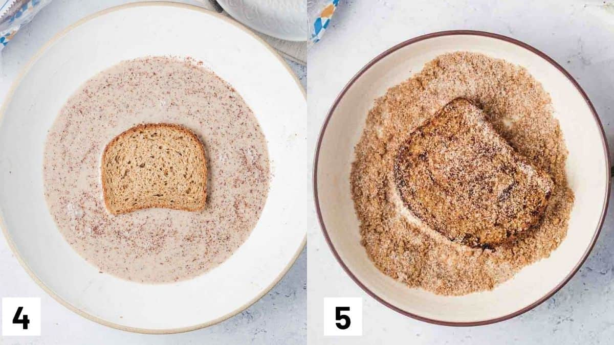 Two side by side images showing how to coat bread in churro french toast mixture.