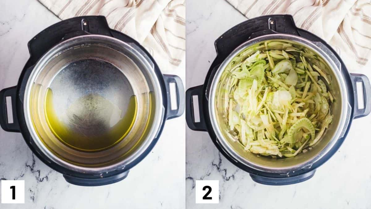 Two side by side images showing how to prep the instant pot, as well as adding in shallots, fennel and apple.