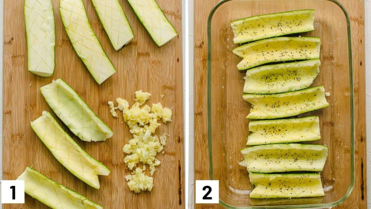 Two side by side images showing how to prepare zucchini by scoring, removing the flesh, and brushing with olive oil.