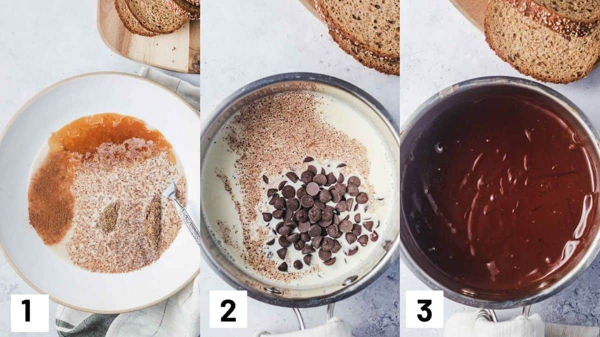 Three side by side images showing ho to make the flax egg mixture and the chocolate sauce.