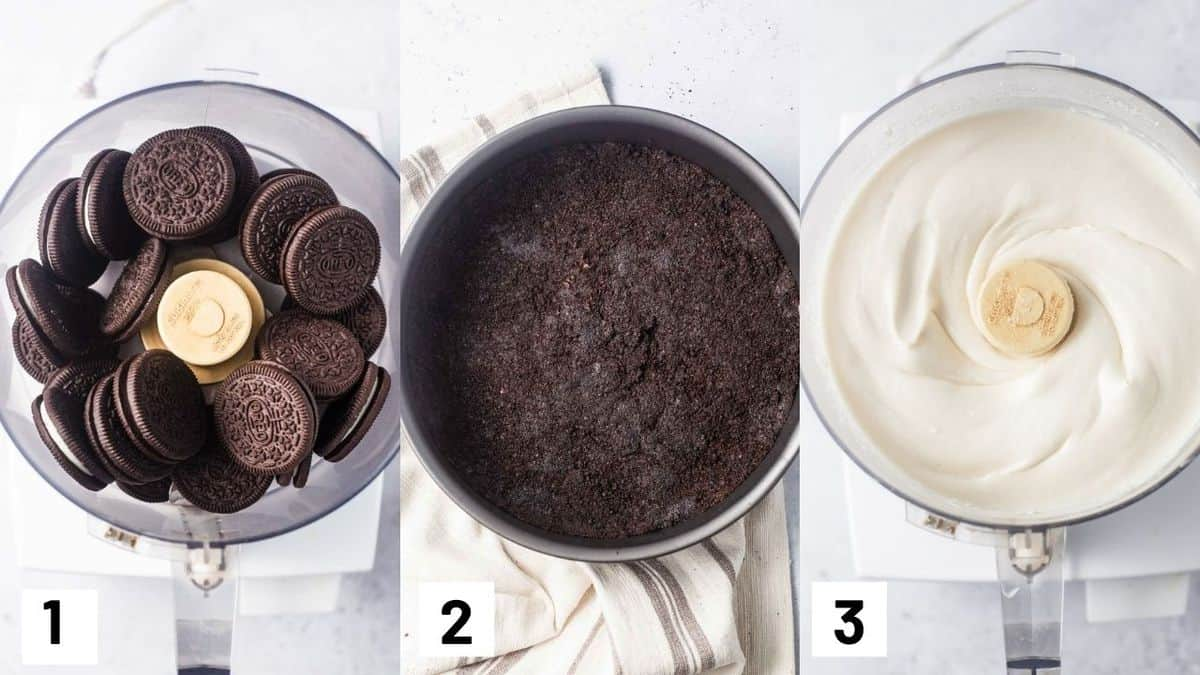 Three side by side images showing how to make the Oreo crust as well as the cheesecake filling.