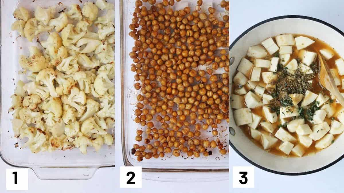 Three side by side images showing how to roast the cauliflower and chickpeas, as well as adding all ingredients to the sauce pot to simmer.