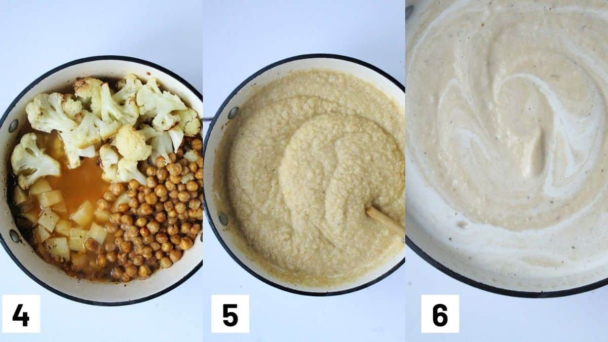 Three side by side images showing the roasted cauliflower and chickpeas added to the sauce pot, as well as pureeing the soup and adding coconut milk.