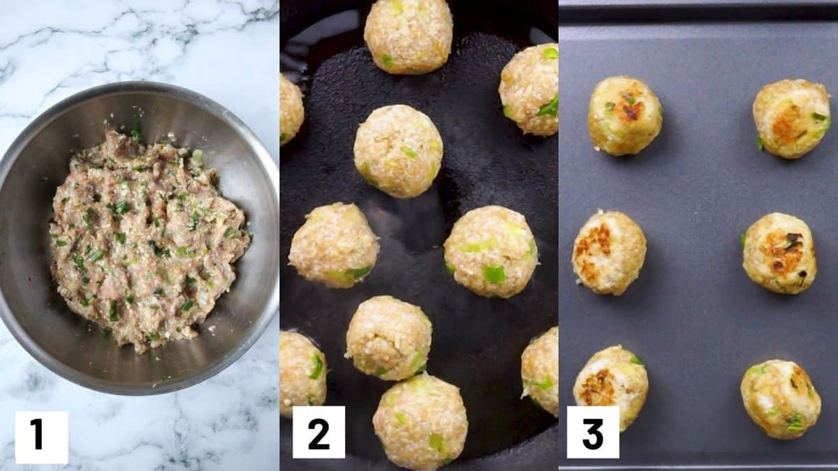 Three side by side images showing how. to prepare and brown chicken meatballs.