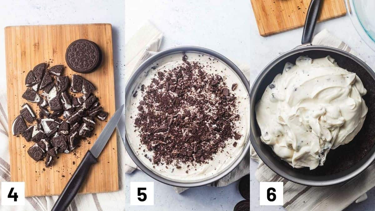 Three side by side images showing how to crush Oreos and adding to the cheesecake mixture, as well as layering cheesecake layer to the Oreo crust.