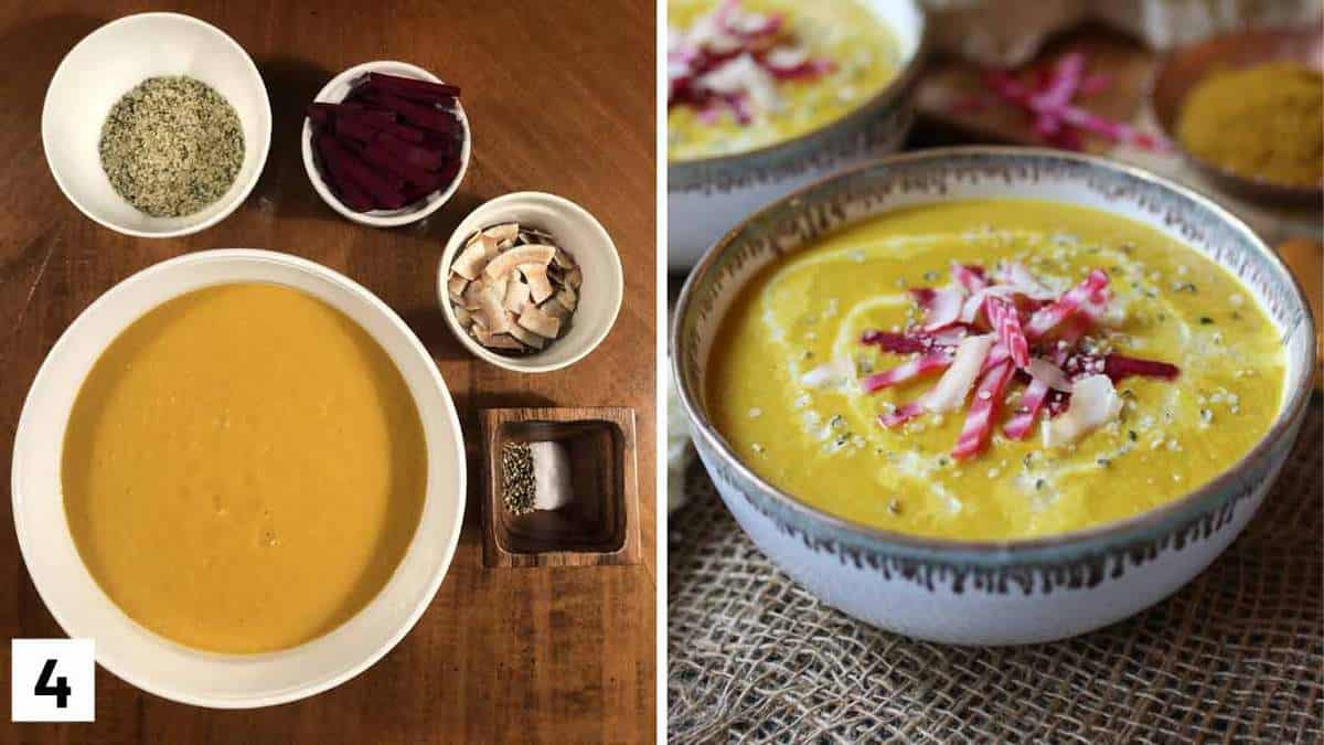 A set of two photos showing a soup with toppings beside it and then the soup with the toppings on it.