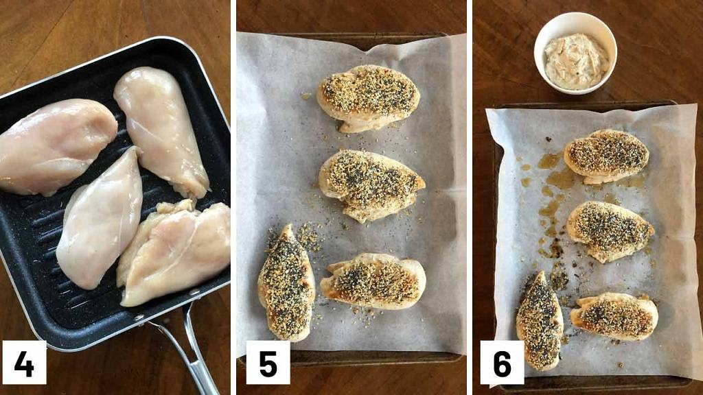 Step by step set of three photos of cooking chicken on a grill pan, covering chicken breasts in everything bagel seasoning, and then baking them.