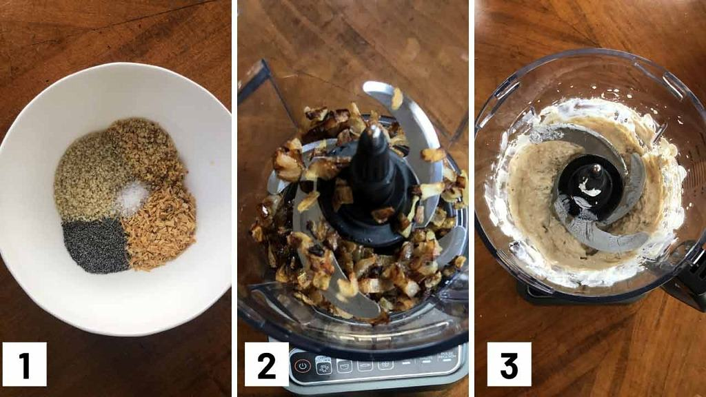Set of three step by step photo of combining the seasonings, browned onions in a food processor, and pureeing the onions with cream cheese and yogurt.