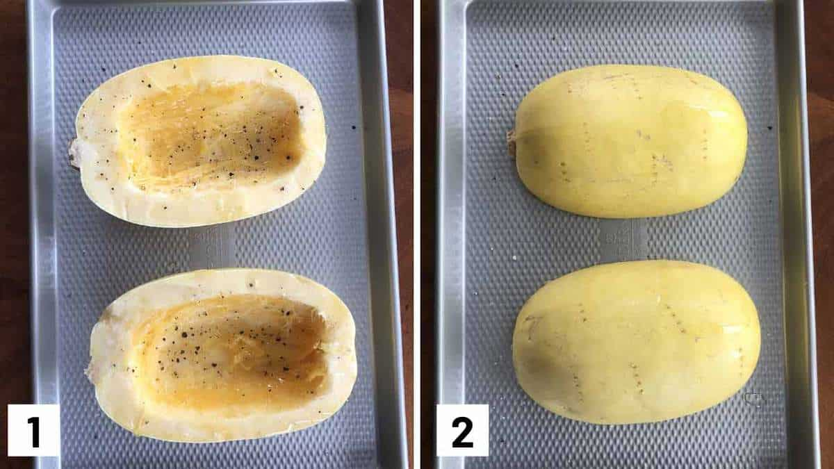 Step by step photo showing halved spaghetti squash on a sheet pan to be roasted.