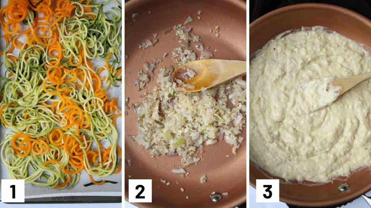 Instruction photos showing spiralized vegetables in a sheet pan, next photo showing shallots and garlic in a pan, and finally hummus being added to the pan.