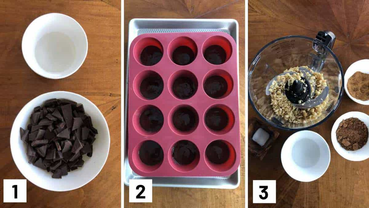 Instruction photos showing which ingredients to melt, coating a silicone muffin tray with chocolate, and then blending together hazel nuts with cocoa powder.