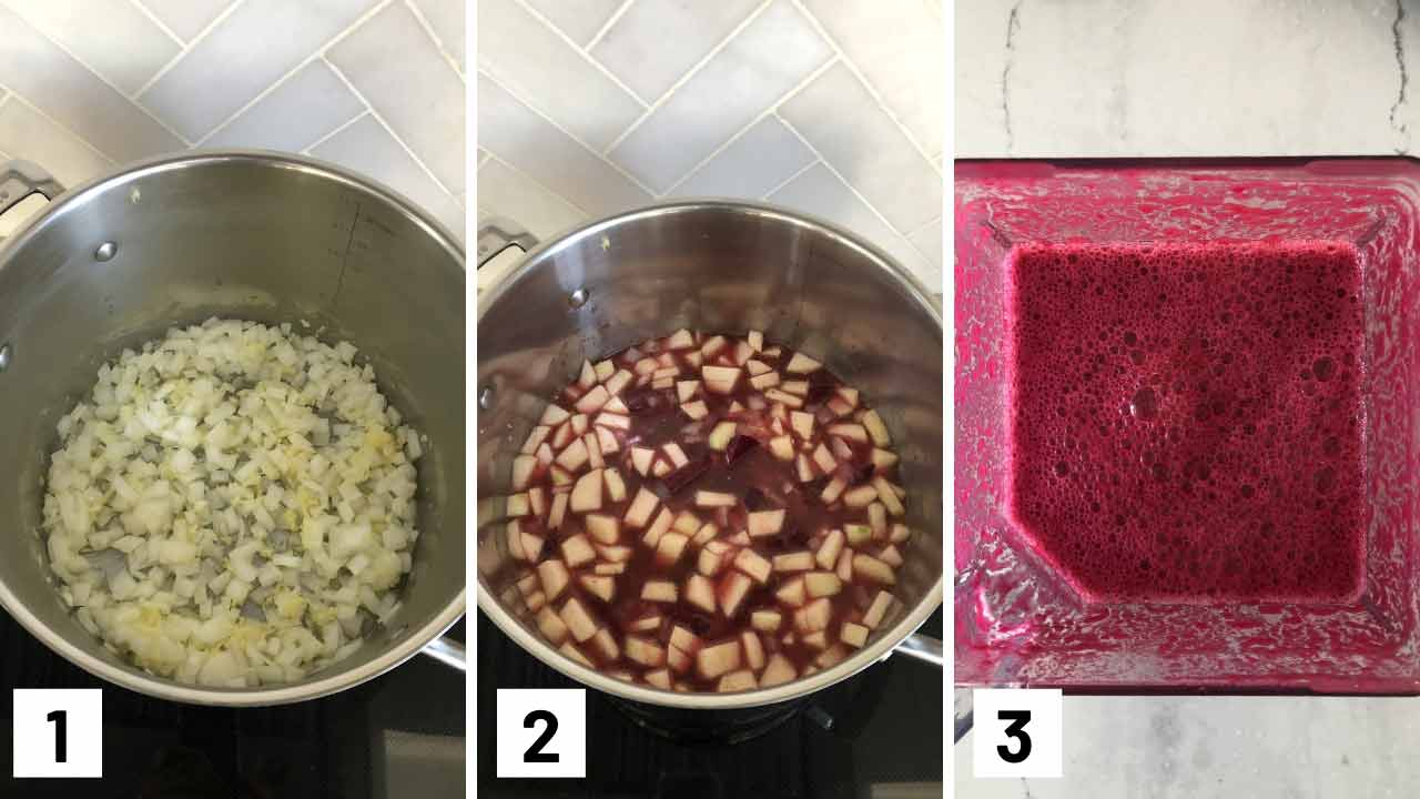Step by step photos making beet soup: sauteing onions, garlic, ginger, adding in the broth, beets, and apples, and then blending it up.