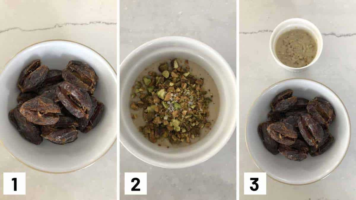 Step by step instructions showing dates being sliced opened, mixing together the filling, and then combine them.