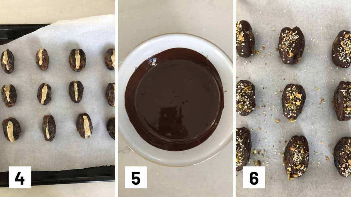 Step by step photos showing the dates being stuffed, chocolate melted, and the coating the dates with melted chocolate.