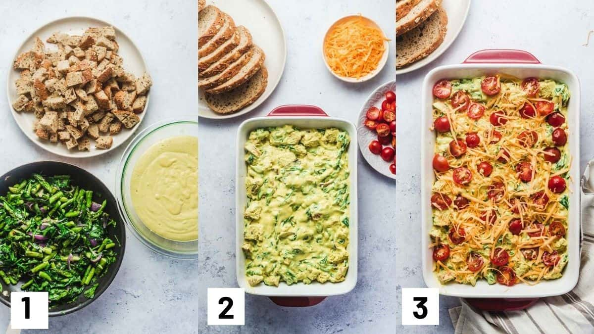Three side by side images showing how to prepare recipe including cooking the vegetables; layering cooked vegetables, tofu mixture, and bread cubes in a casserole dish; and topping off with cherry tomatoes and cheese.