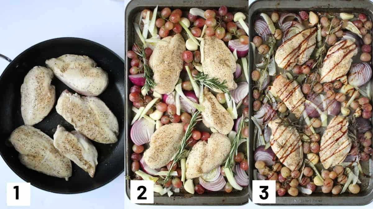 Three side by side images showing how to prepare recipe including browning the chicken, adding ingredients to sheet pan, and drizzling with balsamic glaze.