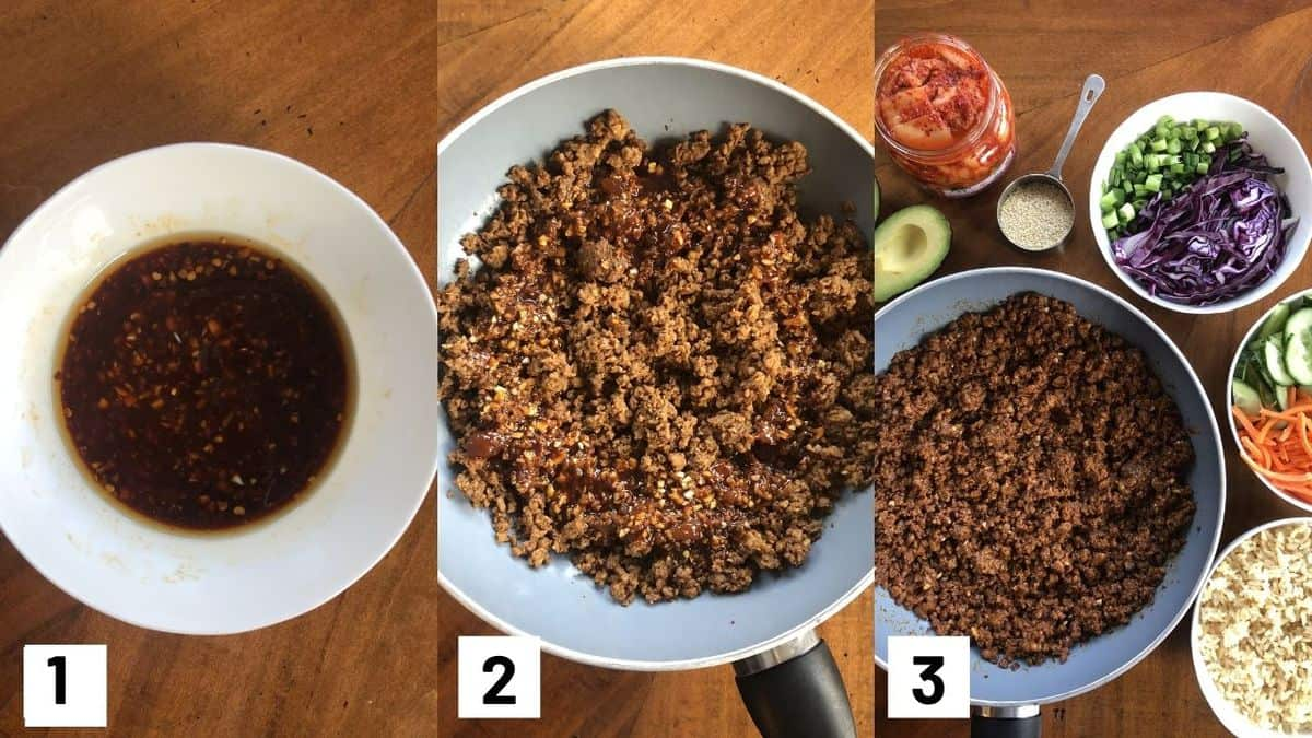 Three side by side images showing how to prepare recipe including how to make the sauce; sauteeing veggie meat, and adding toppings.