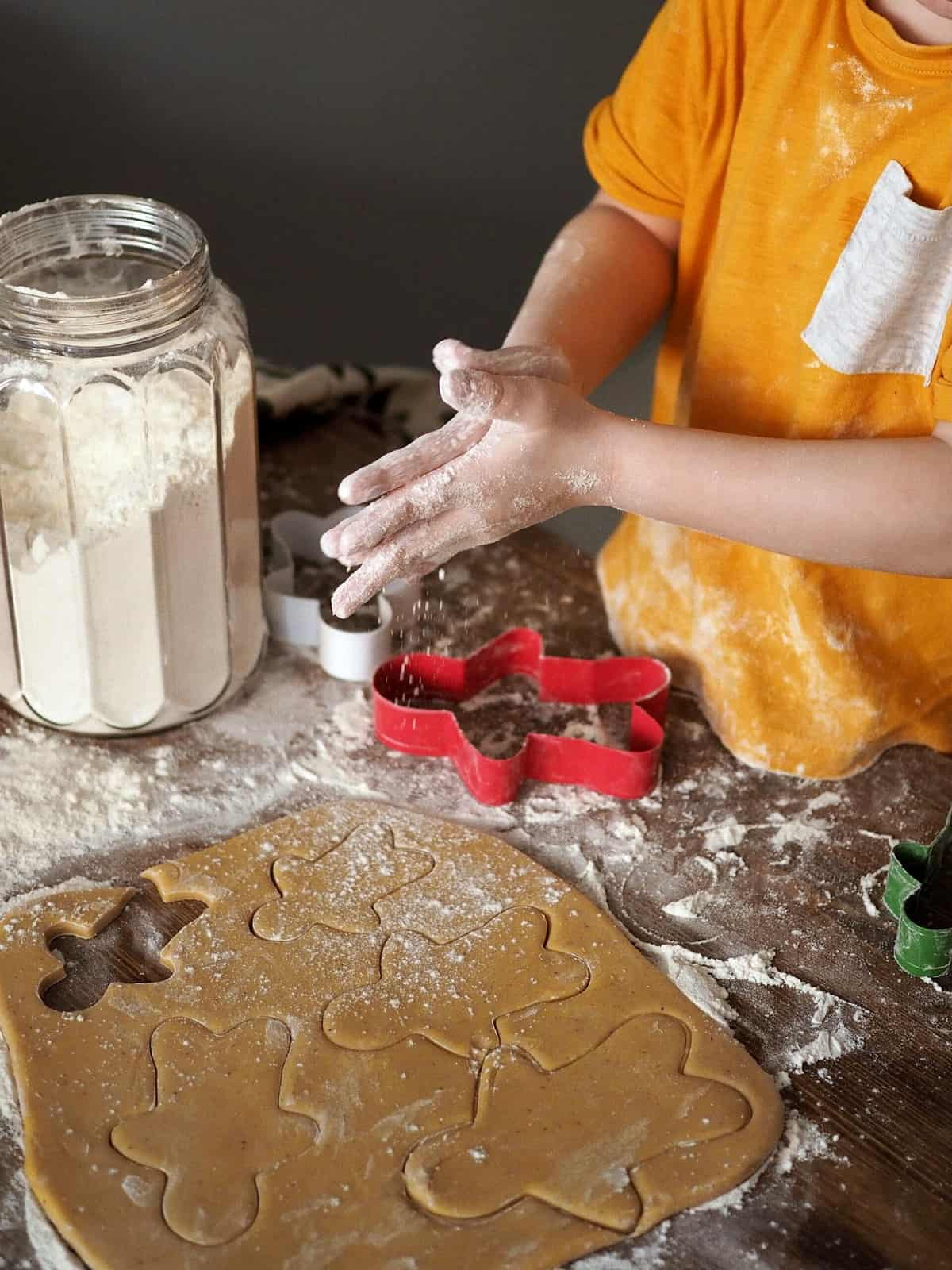 A small child making gingerbread cookies using the healthiest flour.