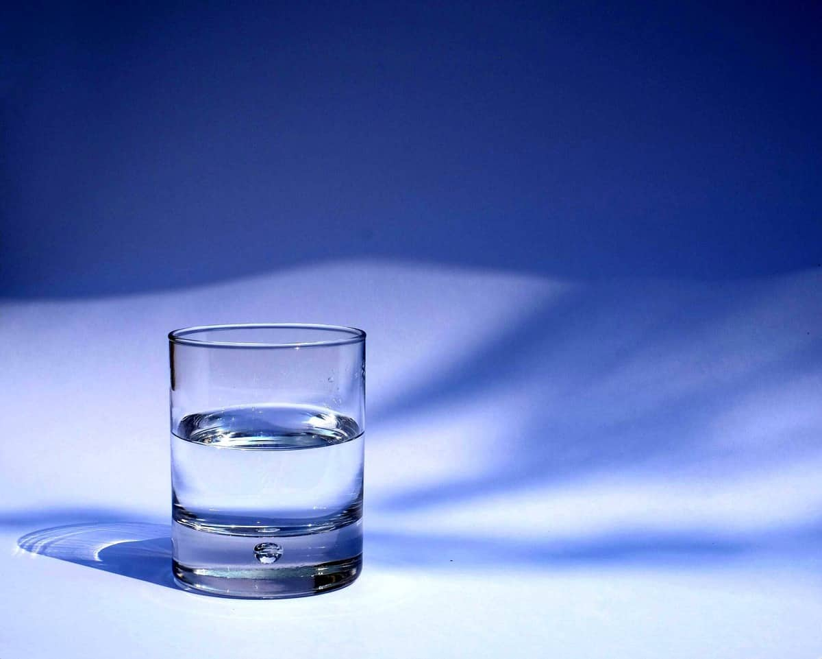 Image of water in a clear water glass representing water retention as resulting in weight gain during period.