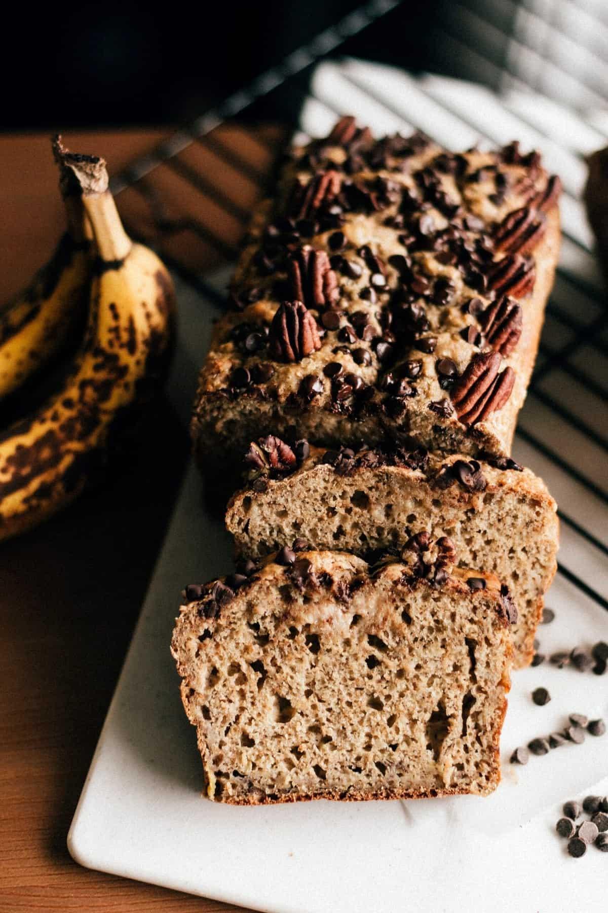 Freshly baked banana bread made from healthy flour.