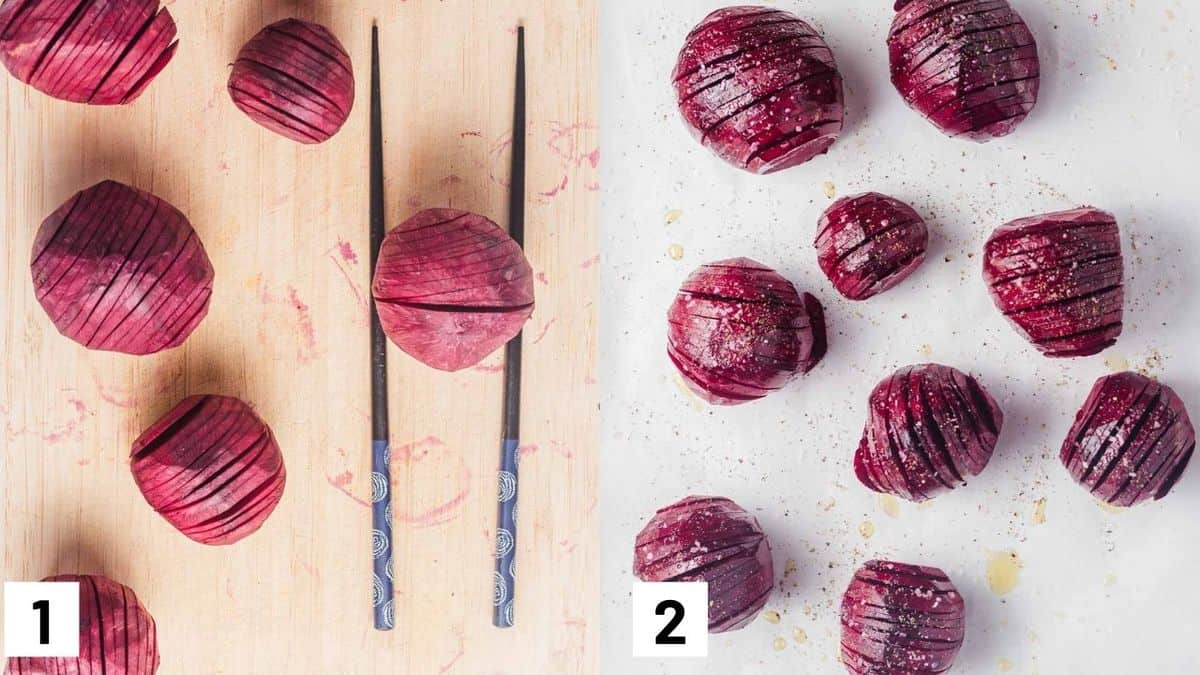 Two side by side images showing how to slice and roast beets.