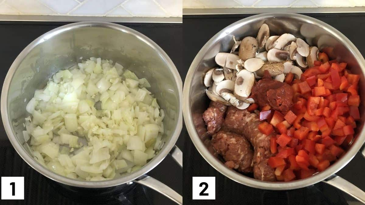 Two side by side images showing how to cook onion and garlic in a sauce pot, and later adding in the sausage, mushroom, bell peppers, and tomato paste.