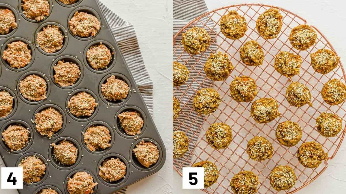 Two side by side images showing the muffin batter in a muffin tray and baked muffins cooling on a cooling rack.