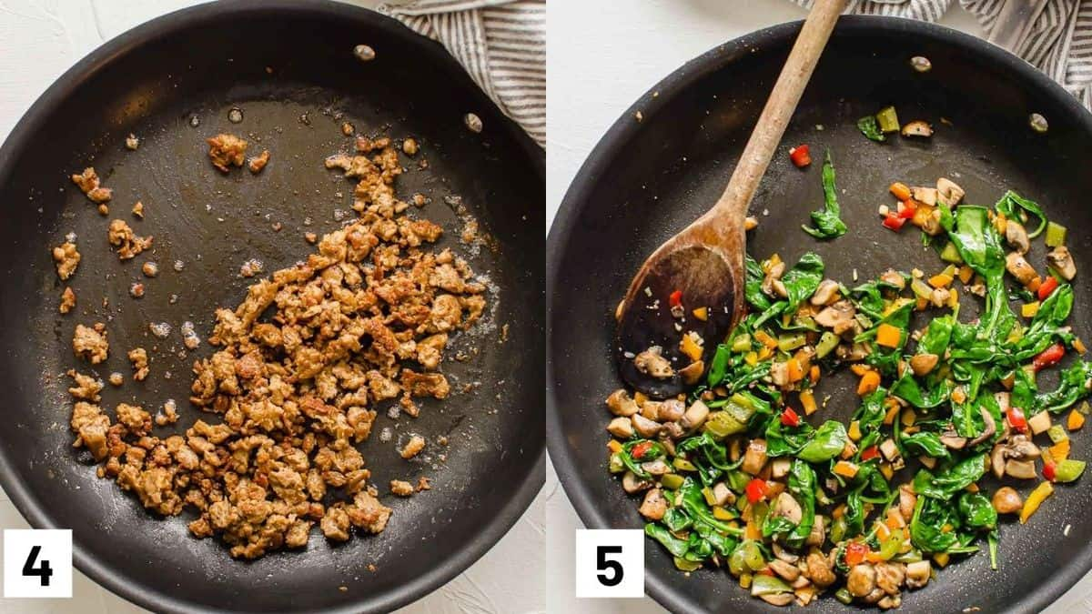 Two side by side images showing how to prepare the sausage and vegetables.