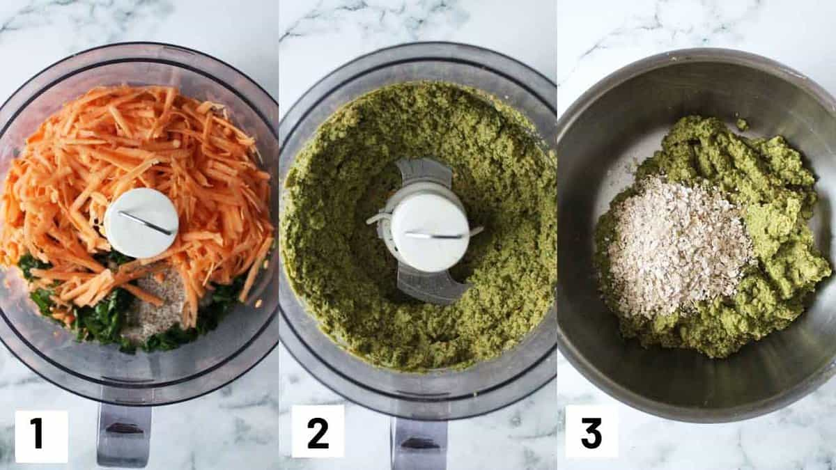 Three side by side images showing how to prepare fritters in the foot processor and binding them with the oats.