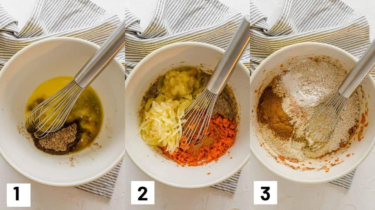 Three side by side images showing how to make muffin batter by combining dry and wet ingredients.